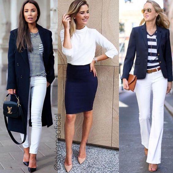 Do stories diretamente para o feed: a combinação de azul marinho + branco que foi tema da tag #InspiraçãoDaSemanaByStyleME 😍 #Clássico #Elegante
