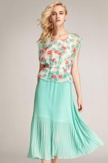 Moonbasa French Style Daisy Printing Dress