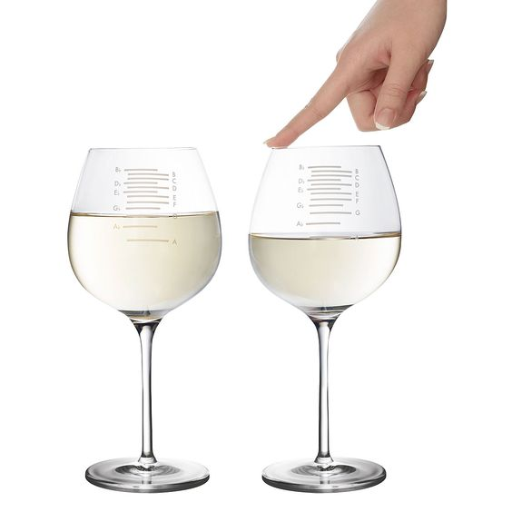 MUSICAL WINE GLASSES - SET OF 2 | Wine Glasses, Music Glasses, Multi-functional Glass, Melody, Song, Chords, Play Glasses | UncommonGoods