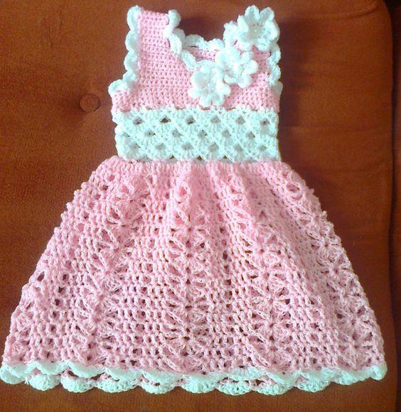 Crochet Baby Dress Newborn Baby Dress Pink Baby Dress