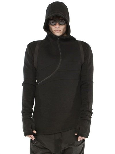 DEMOBAZA SPACE DIVER COTTON BLEND NEOPRENE HOODIE, BLACK. #demobaza #cloth #sweatshirts
