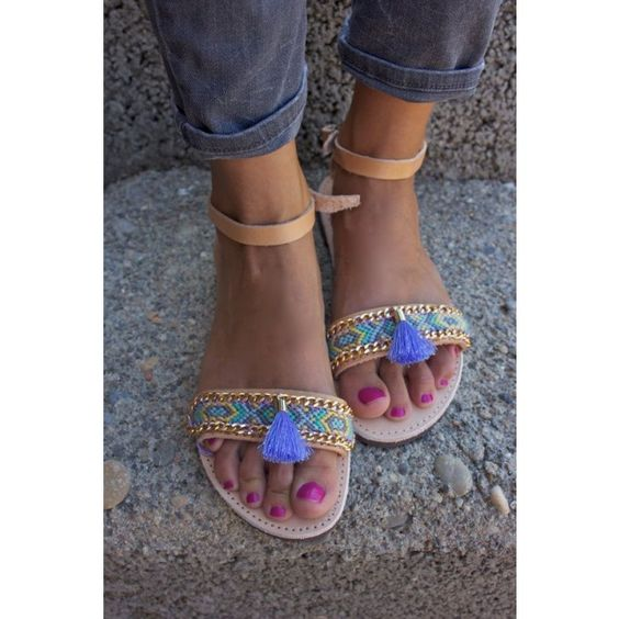 OOAK greek leather sandals with friendship bracelet in beautiful pastel colors and tassel - Sandals
