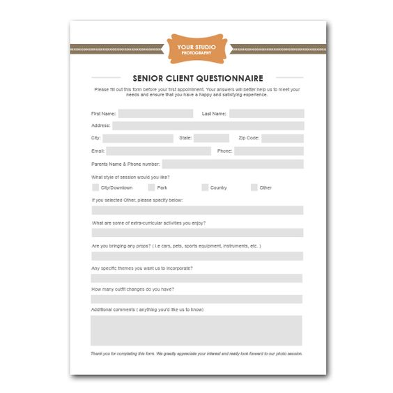 Senior client questionnaire template for Home design questionnaire for clients