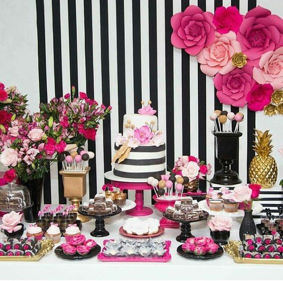 Paleta de Cores - Preto, Branco e Pink - Psiu Noiva