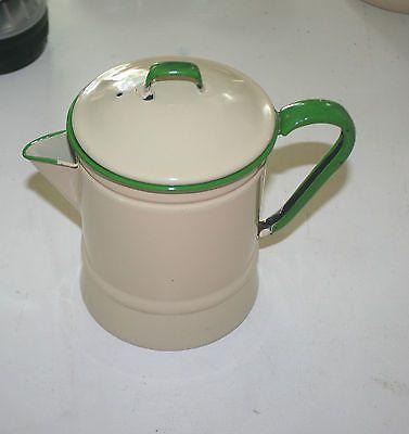 Vintage Cream and Green Handle Enamelware Coffee Pot w Top | eBay