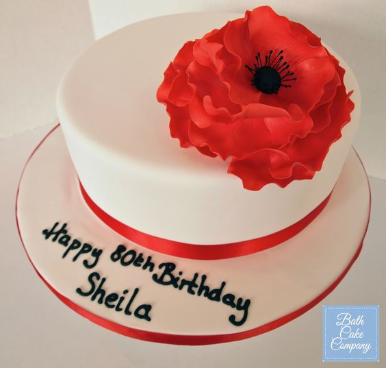 Birthday Cake with Handmade Sugar Poppy Flower by Bath Cake Company