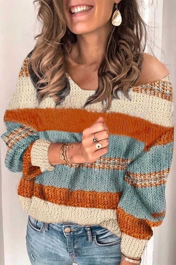 V-neck Colorblock Knitted Sweater – immorgo