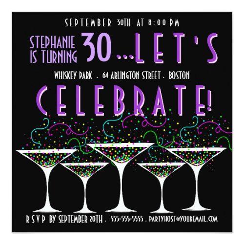 Cocktail Party Invitation Blue Confetti and Martini Glasses