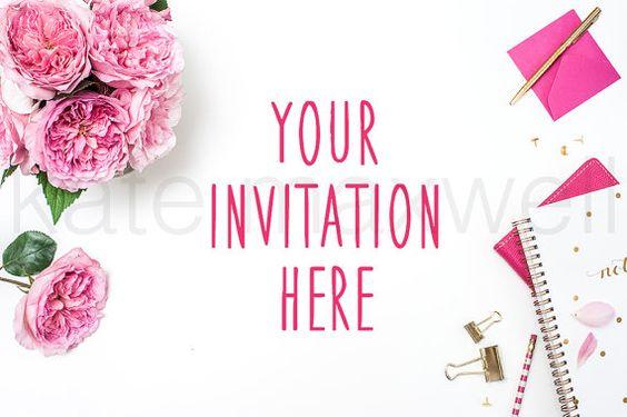 White Desk w/ Pink Garden Roses & Gold Notebook / от KateMaxShop
