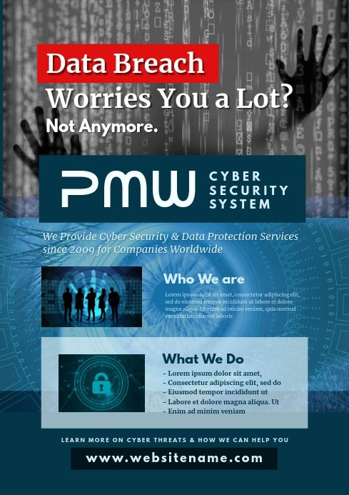 Cyber Security Company Flyer In 2020 Cyber Cyber Monday Poster Template Design