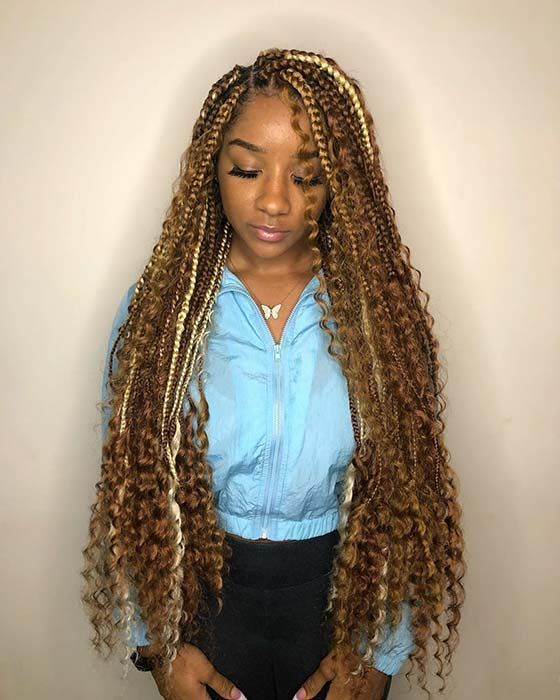 42++ Blonde box braids with curly ends ideas