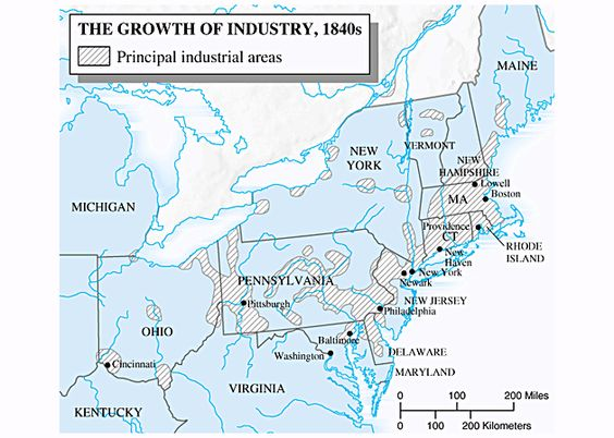 S Growth Of US Industry Antebellum America - Us 1820 map