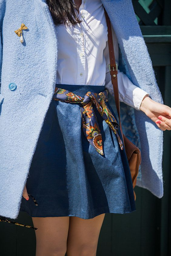 I love this scarf as a replacement for a belt. The pretty brooch is also perfect on the coat.: