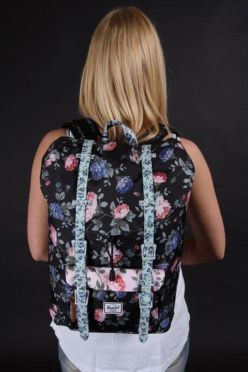 Herschel Little America Mid Backpack Black Floral 10020