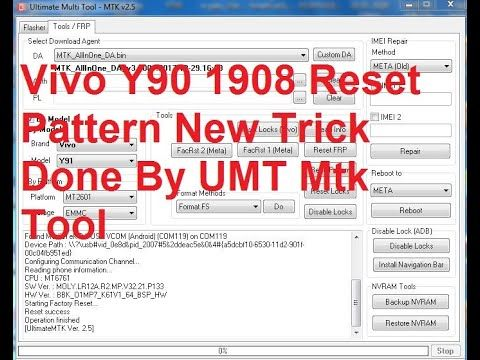 Vivo Y90 1908 Reset Pattern New Trick Done By Umt Mtk Tool In 2020
