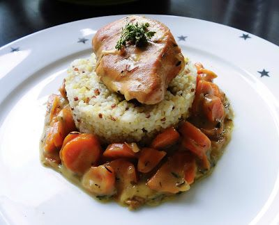 French Cuisine by Maxce: Cider marinated and slow cooked chicken with apple and carrots