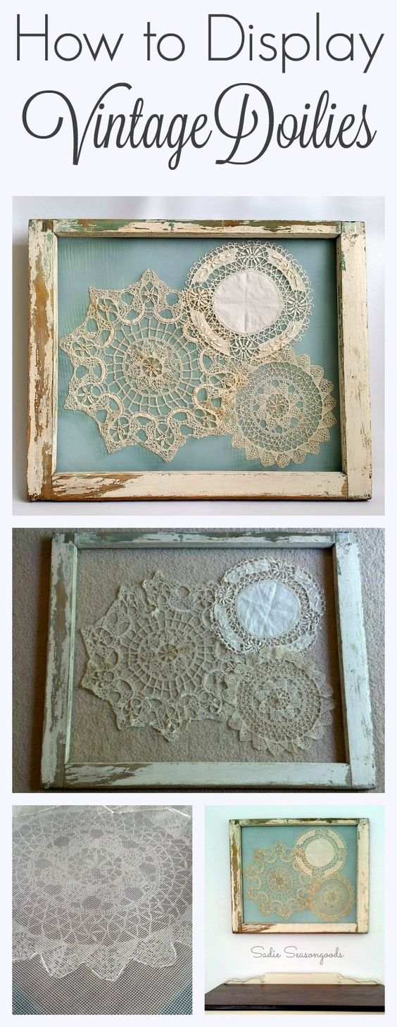 This is the BEST way to display your grandmother's vintage crocheted doilies- gorgeously shabby chic, they are stitched to screen that has been attached to an antique salvaged window frame. A stunning repurpose and relatively simply DIY craft project anyone can do! #SadieSeasongoods www.sadieseasongoods.com: