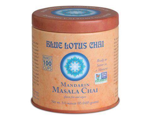 Blue Lotus Mandarin Masala Chai - 3 oz Tin (100 cups) - http://teacoffeestore.com/blue-lotus-mandarin-masala-chai-3-oz-tin-100-cups/