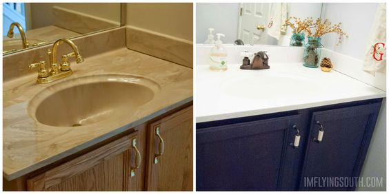 MUST try on 90's cultured marble & brass sinks!  Painted bathroom sink tutorial before and after - I'm Flying South featured on @Remodelaholic.  http://www.remodelaholic.com/2014/12/painted-bathroom-sink-countertop-makeover/
