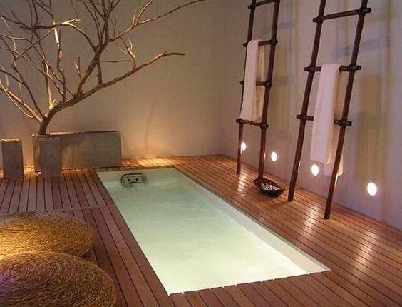 baignoire incruste dans le sol ambiance spa bois nature dcoration dintrieur salle de bain - Echelle Bambou Salle De Bain