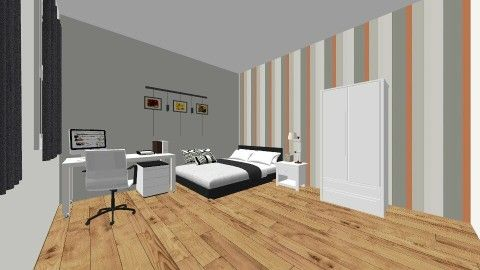 Striped Teen Bedroom - Bedroom - by LaurenTheOwl95: