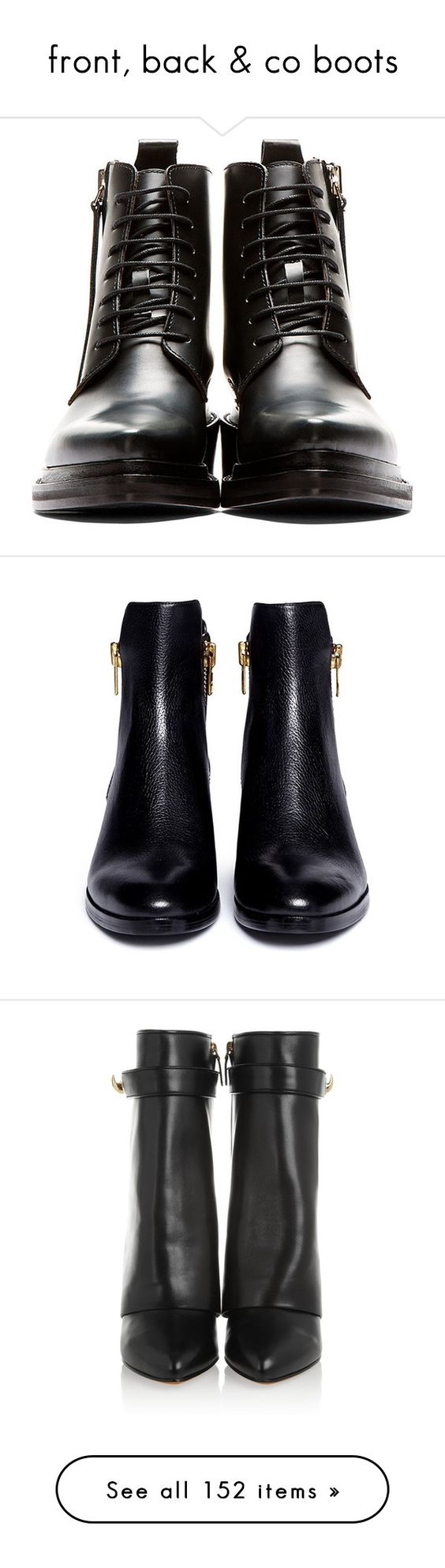 """front, back & co boots"" by linea-prima ❤ liked on Polyvore featuring shoes, boots, ankle booties, short black boots, black leather bootie, pointy toe booties, lace up booties, black leather boots, short suede boots and leather ankle boots"