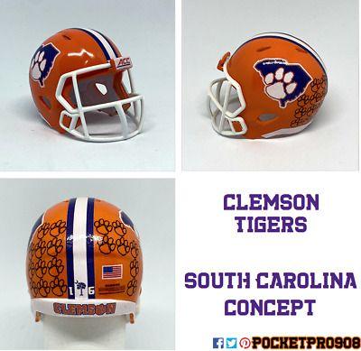 Custom Pocket Pro Helmet Ncaa Clemson Tigers South Carolina Concept Ebay In 2020 Clemson Tigers Football Helmets Clemson