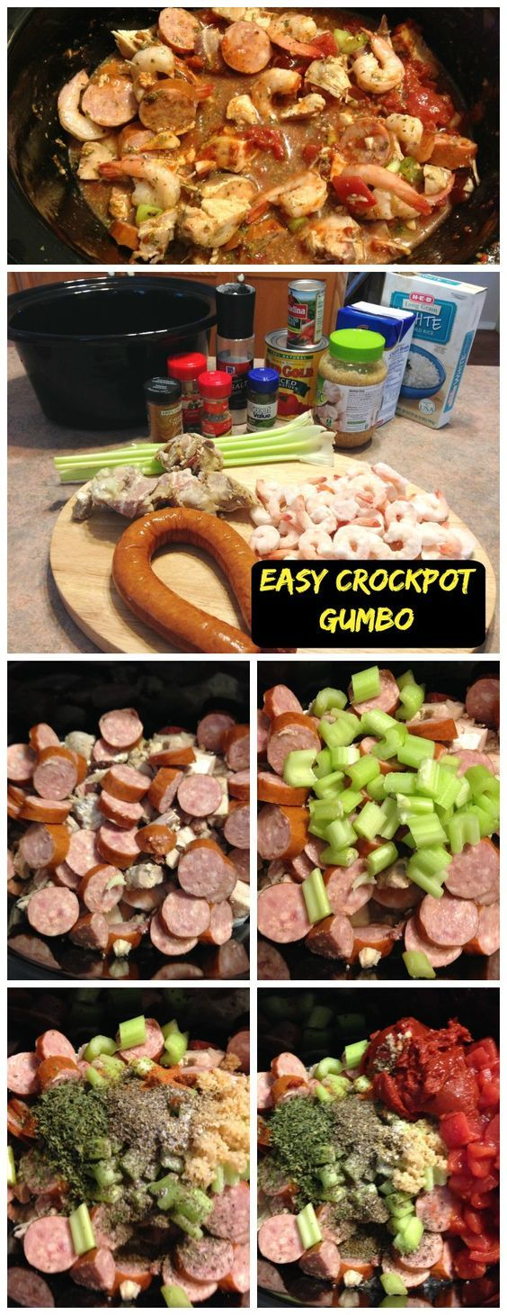 Easy Crockpot Chicken, Sausage and Shrimp Gumbo - This will be the easiest crockpot gumbo recipe you ever tried that tastes AMAZING!: