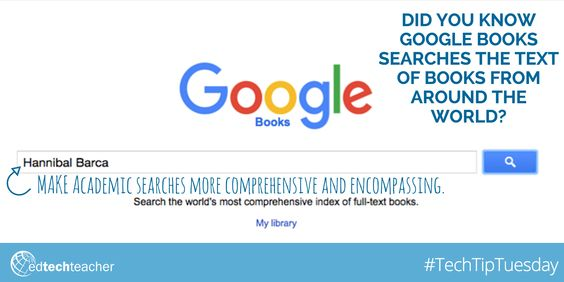 #TechTipTuesday: Learn more about the Power of #GoogleBooks from Jennifer Carey http://edtechteacher.org/google-books-jen-carey/ #GAFE