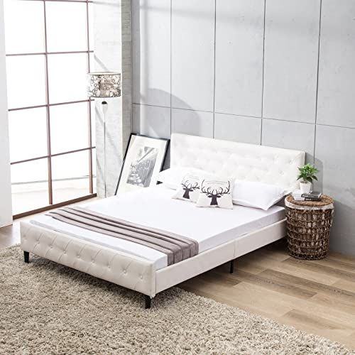 New Mecor White Upholstered Faux Leather Platform Bed Solid Wooden