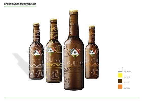 Design d'identité pour la marque de bière Okult. Création de 3 axes différents pour une nouvelle identité visuelle ainsi que le design de l'étiquette de la gamme.- Projet d'écoleIdentity Design for Okult beer brand. Creation of 3 different axes for a n…