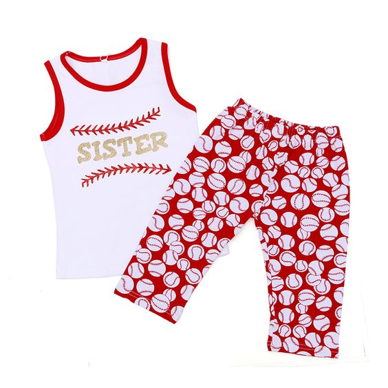 Baseball Boutique Outfit Tank Leggings Girl Set Baby Boy Summer ...