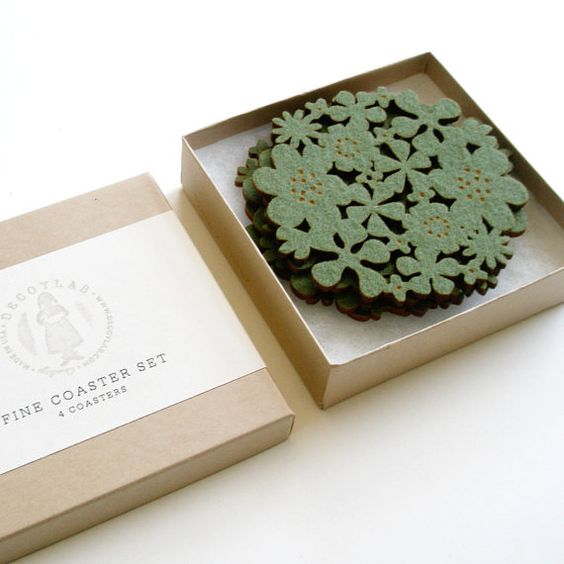 Flower Coasters Set of 4 - Moss