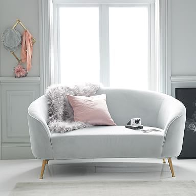 Curved Loveseat Pbteen Grey Bedroom Furniture Bedroom Couch
