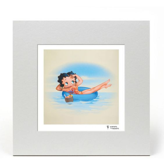 Betty Boop Fine Art Print - Innertube ($13) ❤ liked on Polyvore featuring home, home decor, wall art, ocean wall art, photo wall art, betty boop and sea home decor