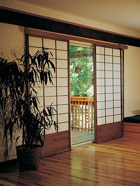Shoji screens by CherryTreeDesign.com cover sliding patio doors