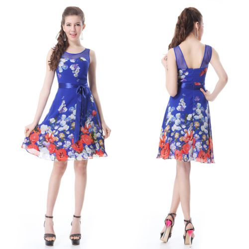 Round-Nekcline-Bow-Floral-Printed-Padded-Short-Casual-Dress-03692-UK-Size-16