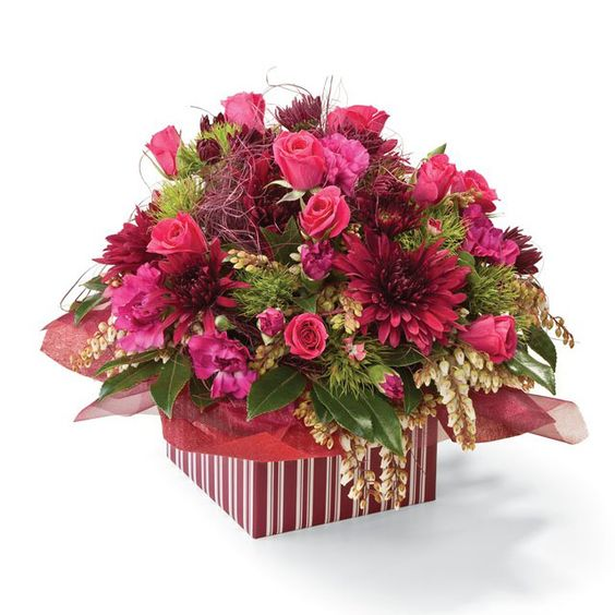 Vintage - a A colourful box overflowing with dainty pink roses, pink chrysanthemums, spray dianthus, sweet william and delicate greenery, in floral foam, complete this special gift.: