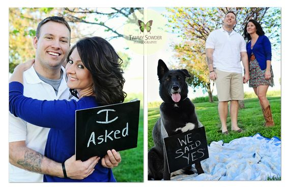 "Engagement photo with Copper! "" I Asked"" ""I Approved"" ""I Said Yes"" signs maybe?"