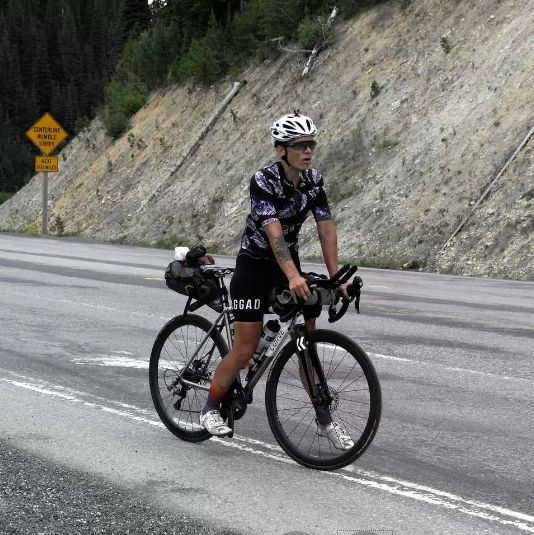 Image credit -http://transambikerace.com/ For those mesmerizedby the unstoppable purple dot of SarahHammond we thought we'd show you what she's riding andw