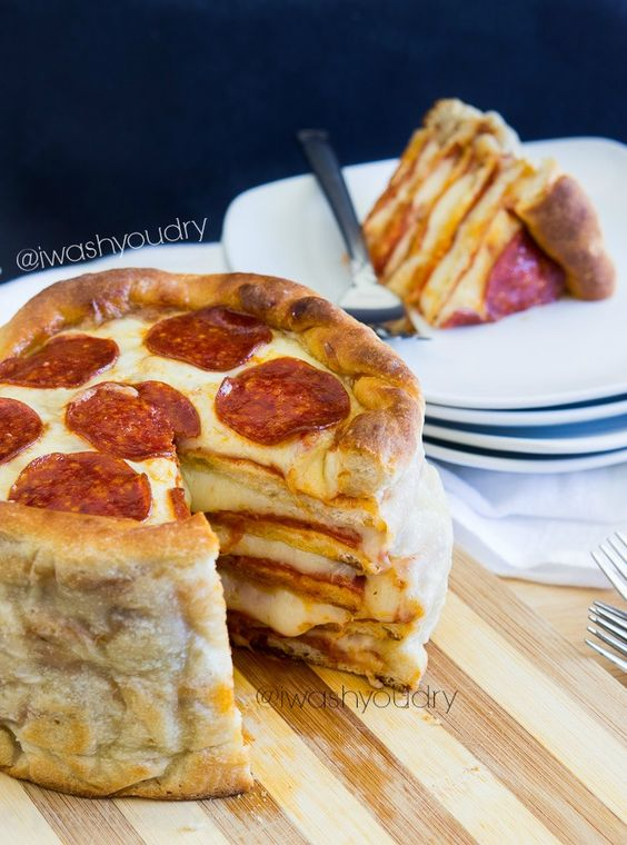 THREE Pizza Cake! Layers upon layers of delicious pizza made in less than an hour! I really may have to make this!!