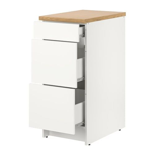 Knoxhult Base Cabinet With Drawers White 15x24x36 Base Cabinets Cabinet Drawers Freestanding Cooker