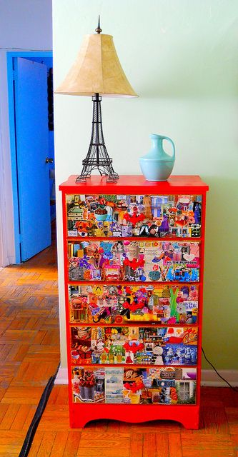 I've always wanted to do something like this, buy an old piece of furniture, decoupage it, and sell it.