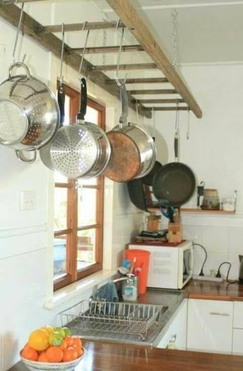 Repurpose Hanging Pot Rack : repurpose, hanging, Ladder, Rack....., #GoneJunking, #FleaMarkets, #GreenLiving, #Craft, #Vintage, #Recycle, #Repurpose, #ReUse, #Upcy…, Kitchen, Remodel,, Renovation,