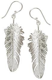 Feather Earrings, 100% Sterling Silver from MISS MOSS.