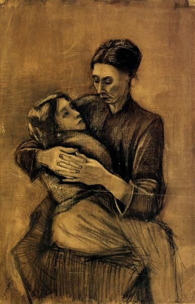 Woman with a Child on Her Lap, 1883 by Vincent van Gogh. Realism. genre painting. Van Gogh Museum, Amsterdam, Netherlands