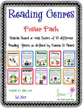 Every classroom library needs to have Reading Genre Posters!  Each of these 10 FREE posters have pictures that correspond to the definition of each genre.