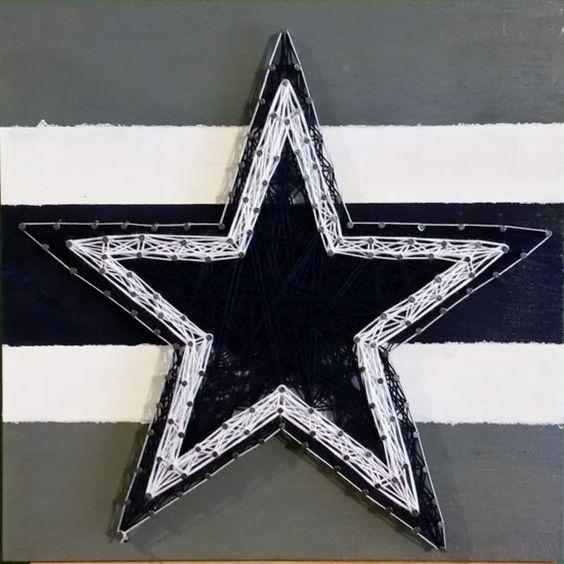12x12 Dallas Cowboys Star String Art Sign NFL by RubyOwlDesigns  #DallasCowboys #Cowboys #Star #NFL #StringArt #Handmade #Etsy #EtsyShop
