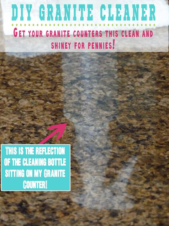 DIY Granite Cleaner:  1/4 c rubbing alcohol, 3 drops dishwashing liquid, 2 cups water, 5-6 drops essential oils.  Place them in a cleaning bottle, mix gently and you are ready to go.