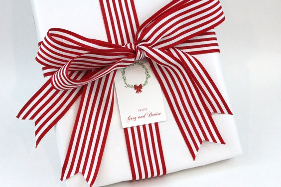 Family Gift Tags & Monogram Stationery. Satin ribbon bow. Great gift wrapping ideas! Christmas Wrapping Gift Ideas Christmas Wreath Holiday